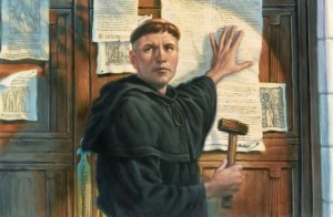Rendition of Luther posting his Ninety-Five Theses