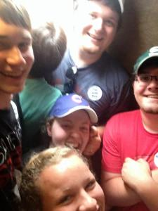Crammed into an RV bathroom with most of our siblings