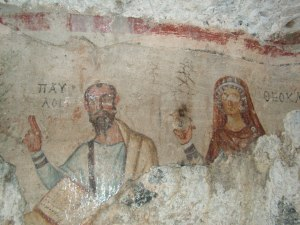 Catacomb image of Paul and (possibly) Thecla
