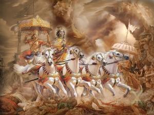 Arjuna encountering Krishna in the Bhagavad Gita